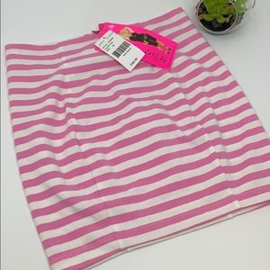 Betsey Johnson pink striped mini skirt NWT SZ P